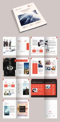 红色简约时尚企业画册宣传册模板源文件