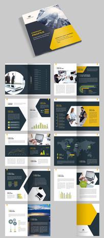 黄色创意时尚企业画册宣传册AI模板素材源文件