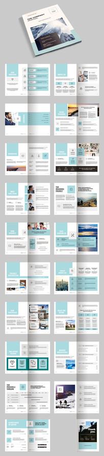 蓝色简约时尚企业画册宣传册AI模板素材源文件