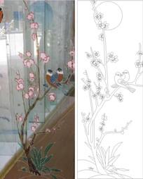 梅花鸟雕刻图案