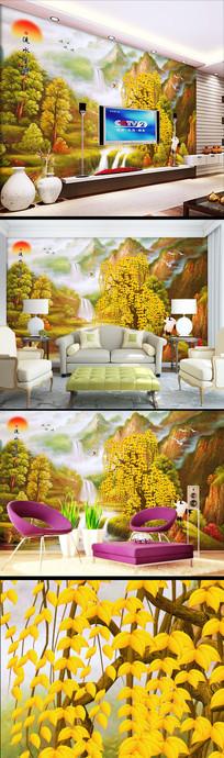 新中式流水生财发财树壁纸背景墙