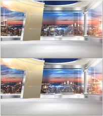 高层背景新闻栏目演播室视频