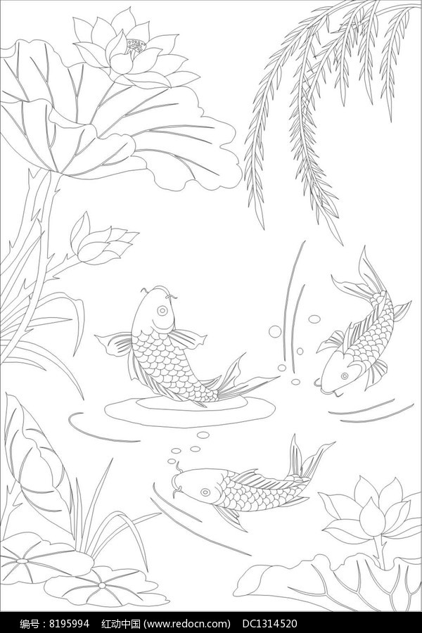 荷花鱼柳叶雕刻图案图片