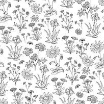 黑白手绘花卉图案背景