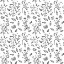 黑白小碎花花卉图案背景
