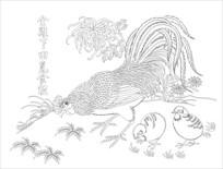 金鸡下田觅食粒雕刻图案