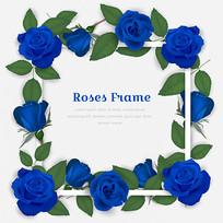 蓝玫瑰方形边框