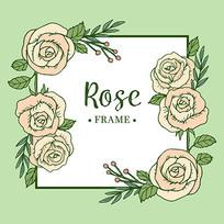 绿色玫瑰花方形边框