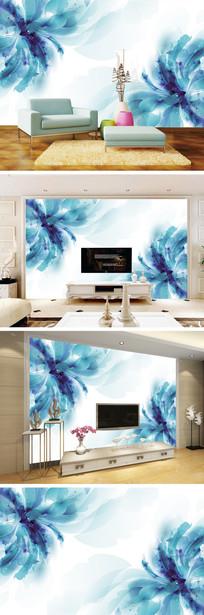梦幻简约蓝色花朵电视背景墙