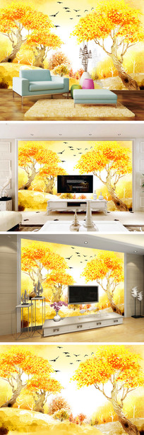 秋天风景金色发财树电视背景墙
