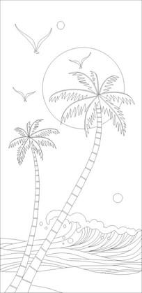 海边沙滩上的椰子树和遮阳伞卡通风景插画