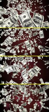100美元钱币掉落天上掉钱视频素材 mp4