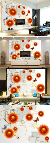 3D立体方块手绘葵花客厅电视背景墙图片