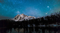 大雪山湖泊星空美景延时视频素材
