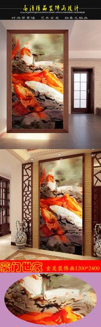 高清抽象油画年年有余鱼戏荷塘玄关装饰画