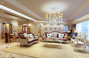 现代会客厅装修3D模型