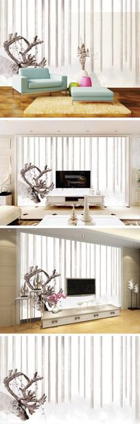 现代简约欧式麋鹿电视背景墙装饰画
