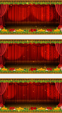 戏曲相声花红色幕布高清视频背景