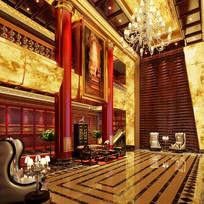 中式酒店大厅3D模型