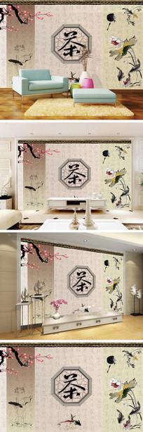中式水墨画茶文化背景墙装饰画