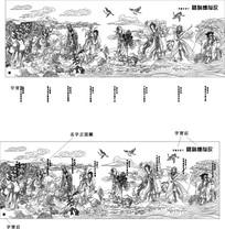 八仙图雕刻图案 CDR
