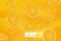 橙汁包装切片背景