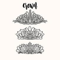 黑白手绘皇冠矢量素材