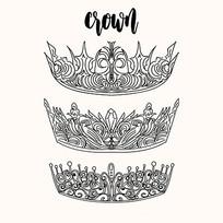 黑白手绘皇冠矢量图