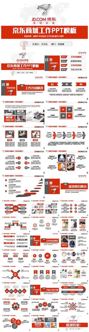 红色框架完整京东商城京东物流工作PPT