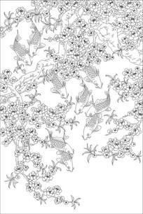 梅花鱼雕刻图案