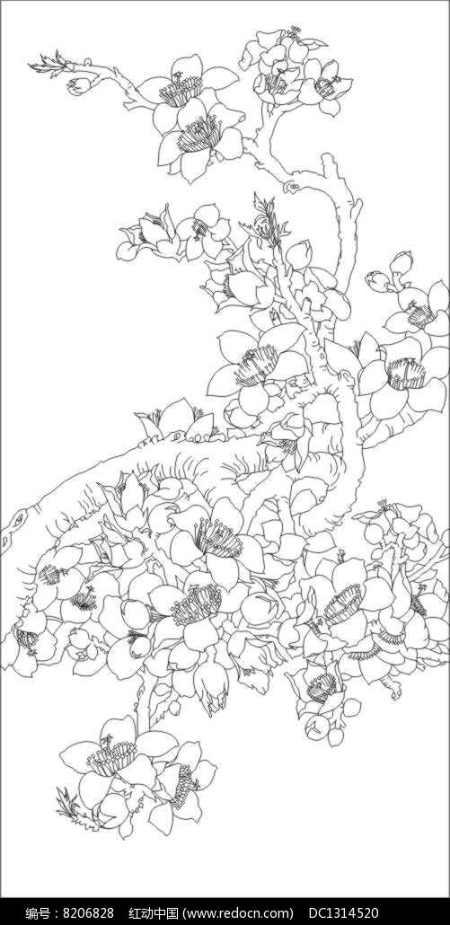 木棉花雕刻图案cdr素材下载_雕刻图案设计图片