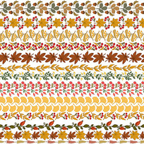 秋收花边分隔线装饰AI