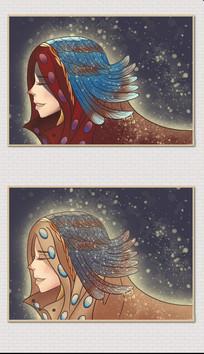 手绘穿着彩色羽毛衣服的美女插画