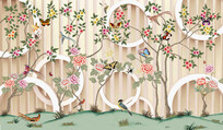 手绘工笔花鸟唯美背景墙