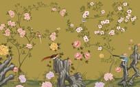 手绘工笔花鸟装饰背景
