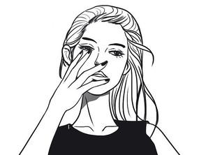 手绘黑白美女插图