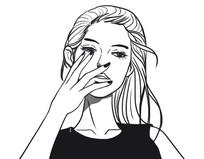 手绘黑白美女插图 PSD