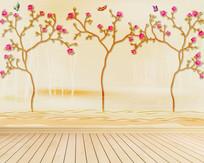 手绘花朵新中式背景墙