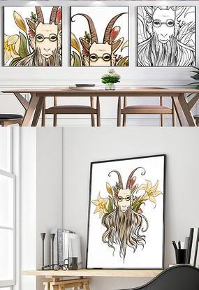 手绘山羊创意装饰挂画