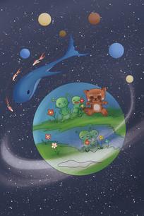 手绘外星星球插画