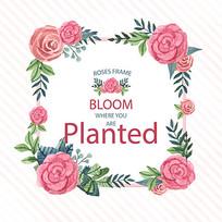 水彩玫瑰花香包素材