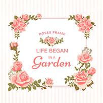 唯美花朵玫瑰装饰边框矢量素材