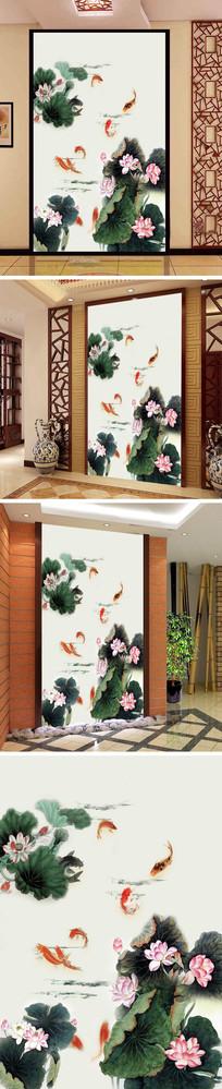 中式国画荷花九鱼玄关背景墙