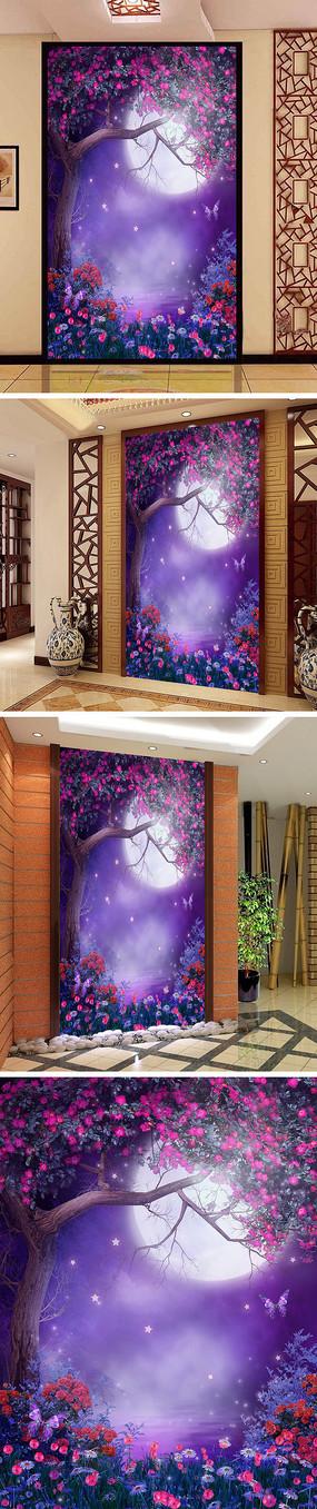荷塘月色树林月亮蝴蝶玄关背景墙