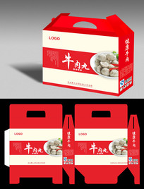 红色牛肉丸礼品盒平展图设计