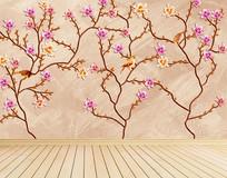 花鸟图手绘花朵背景墙