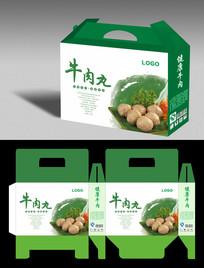 健康食品牛肉丸礼品盒平展图设计