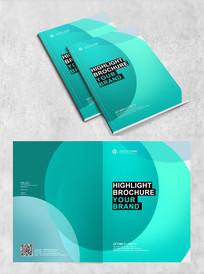 蓝色简约时尚六边形科技画册封面