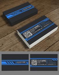 蓝色线条高档名片设计
