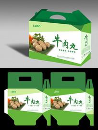 绿色精品牛肉丸礼品盒平展图设计